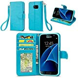 Galaxy S7 Case, IZENGATE [Slim Series] Wallet Case Premium Synthetic Leather Flip Cover Folio with Stand for Samsung Galaxy S7 (Turquoise Blue)