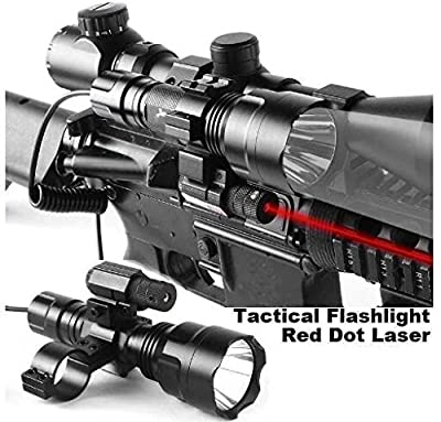 Wenxy Tactical Rifle Red Dot Laser with Cree XML T6 1200 Lumen Flashlight Tactical Scope Mount + Remote Pressure Switch + Battery for Hunting Gun Air Rifle