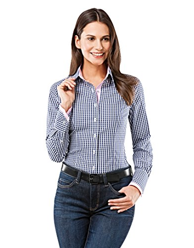 Vincenzo Boretti Blouse, modern-fit, checke,darkblue/white,X-Small(US:2/Label:6)