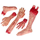 Halloween Haunters 5 Piece Bloody Severed Human Body Parts Latex Prop Decoration - Scary Realistic Broken Exposed Bone Hands, Fingers, Arms, Legs & Feet - Zombie Haunted House Party, April Fools Prank