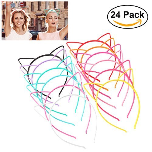 (Unomor 24PCS Plastic Cat Ears Headband for Cat Birthday Party Supplies and Daily Decorations, 12 Colors )