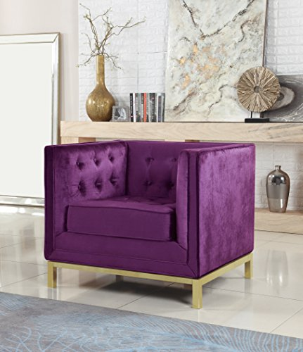 Iconic Home Dafna Accent Club Chair Sleek Elegant Tufted Velvet Plush Cushion Brass Finished Stainless Steel Brushed Metal Frame, Modern Contemporary, Purple
