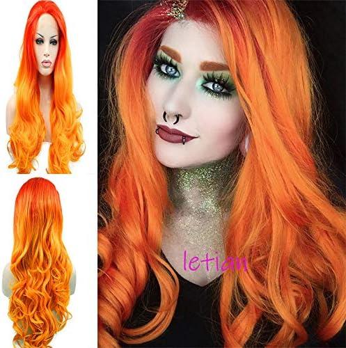 Peluca frontal de encaje sintético con puntas naranjas, 61 cm, color rojo y naranja