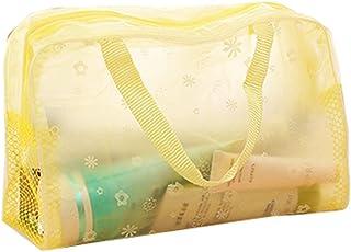 Jingyuu 1Pinceaux de maquillage Sac de rangement transparente de douche Trousse de toilette avec poignée pour cosmétique jaune jaune 24 * 9 * 15CM