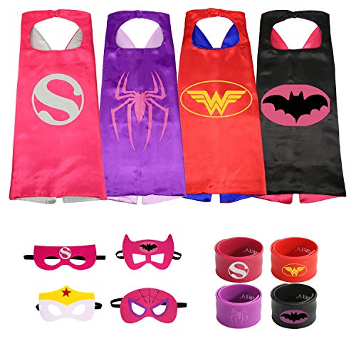 Munfa 4 Different Superheros Cape and Mask Costumes Set Includes Bonus Matching Wristbands for Kids -