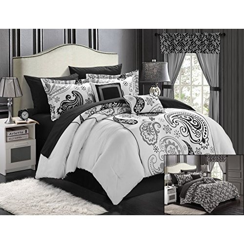 Chic Home Olivia 20-Piece Comforter Set Reversible Paisley Print Complete Bed in a Bag with Sheet Set, Window Treatments, and Decorative Pillows, Queen Black/White ()