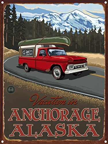 Vacation In Anchorage Alaska Pickup Road Trip Snow Rustic Metal Art Print by Paul A. Lanquist (9