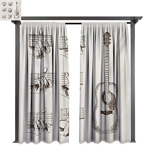 bybyhome Extra Long Outdoor Curtain Guitar Sketch Art Style Instrument and Chords Acoustic Flamenco Technique Skill Talent W120 xL96 Suitable for Front Porch,pergola,Cabana,Covered Patio]()