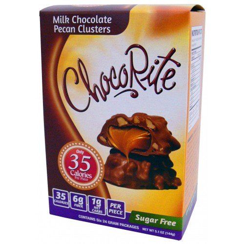 - CHOCORITE CHOCOLATE VALUE PACK -6 24 GRAM BARS-SUGAR FREE-35 CALORIES PER PIECE (MILK CHOCOLATE PECAN CLUSTERS)