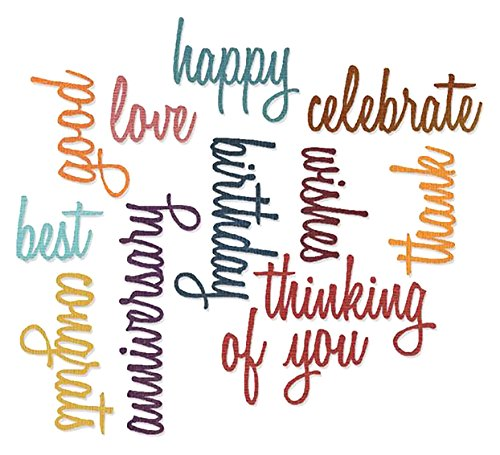 Sizzix SIZ660223 Tholtz Thinlits Die Celebration Words Scrpt