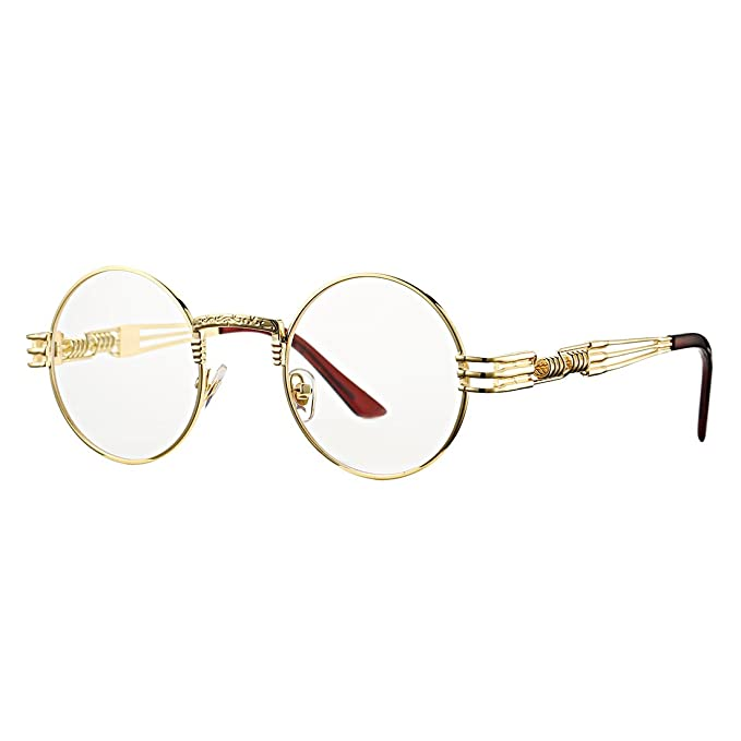 5f02655547d COASION Vintage Round John Lennon Sunglasses Steampunk Gold Metal Frame  Clear Sun Glasses (Gold Frame