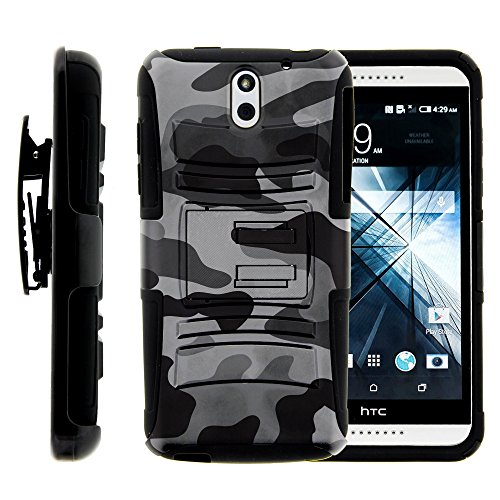 HTC Desire 610 Case, HTC Desire 610 Holster, Two Layer Hybrid Armor Hard Cover with Built in Kickstand for HTC Desire 610 (AT&T) from MINITURTLE | Includes Screen Protector - Winter Gray Camouflage