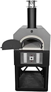 Chicago Brick Oven Propane Gas & Wood-Burning Residential Outdoor Pizza Oven, CBO-750 Hybrid Stand with Silver Vein Hood