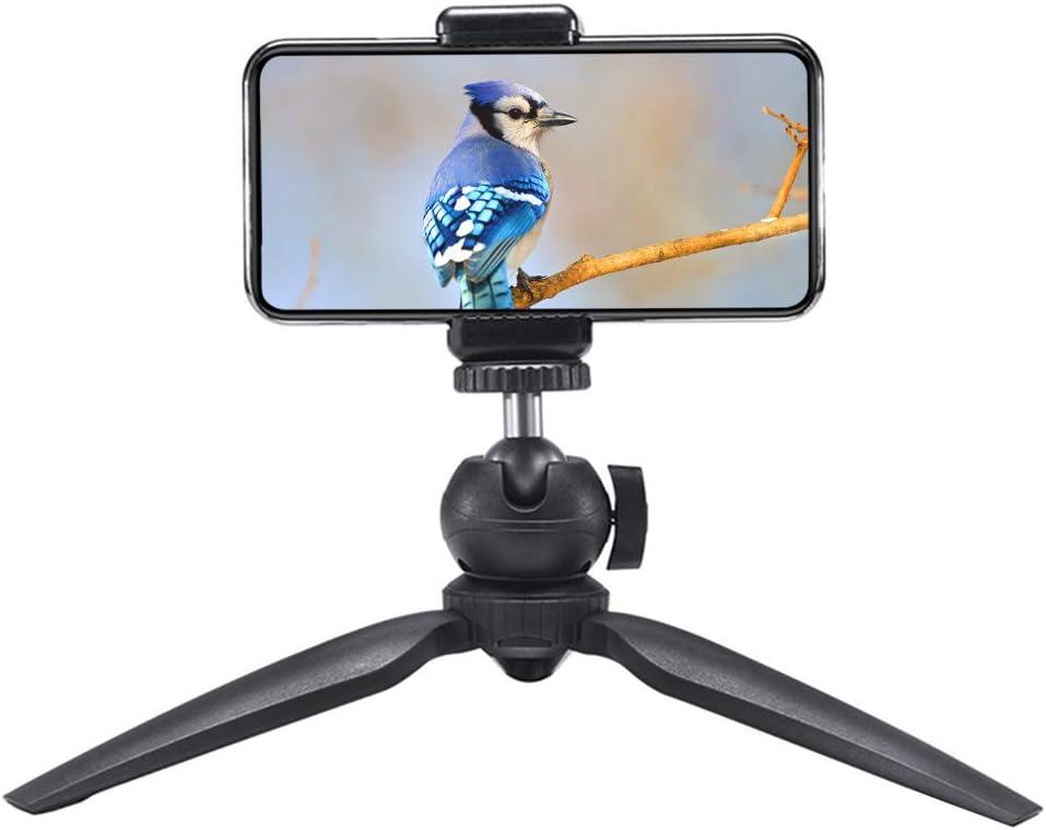Black Mini Tripod,Mobile Mini Desktop Tripod with Small Mount Bracket Stand Holder for Smartphone Action Camera