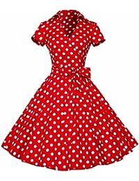 Womens Polka Dot Dresses,50s Style Short Sleeves...