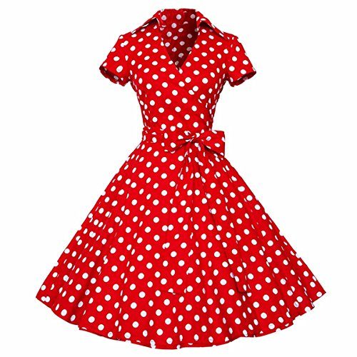 Samtree Womens Polka Dot Dresses,50s Style Short Sleeves Rockabilly Vintage Dress(L(US 8-10),Polka Dot Red) -