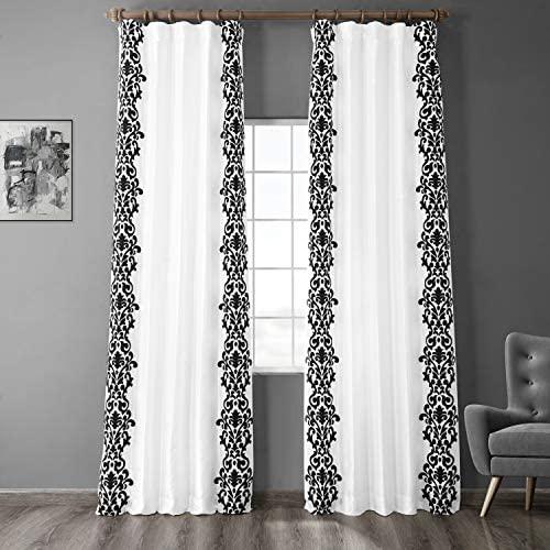 HPD Half Price Drapes PTFFLK-C36A-120 Designer Flocked Curtain 1 Panel , 50 X 120, Castle White Black