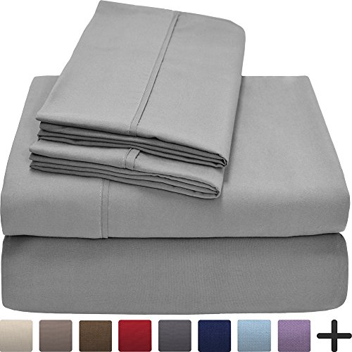 Bare Home Premium 1800 Ultra-Soft Microfiber Collection Sheet Set - Double Brushed - Hypoallergenic - Wrinkle Resistant - Deep Pocket (King, Light Grey) by Bare Home