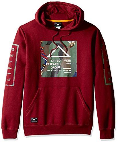 LRG Men's Pullover Hooded Logo Sweatshirt, M, Deep Maroon