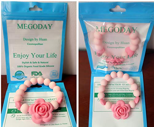 Designer Teething Beads Bracelet for Baby,Infant Silicone Teether Toy,Handmade Chewlery Ring,2.5″ Diameter,Toddler Pink Chew Shower Toys