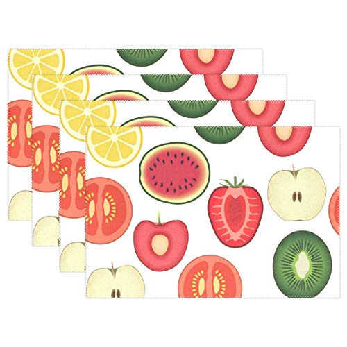 NMCEO Place Mats Apple Kiwi Orange Washable PVC Non-Slip Insulation Table Mats for Kitchen Dinner Table Set of 6