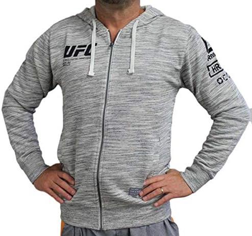 """UFC Ultimate Fightingリーボック""""ファンギア""""メンズフルZipフード付きスウェットシャツ–チョーク 3L グレイ"""