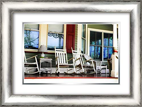Rockers on The Porch II 24x17 Silver Contemporary Wood Framed and Double Matted Art Print by Hausenflock, ()