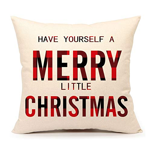 4TH Emotion Have Yourself a Merry Little Christmas Throw Pillow Cover Plaids Cushion Case for Sofa Couch 18