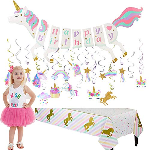 Unicorn Party Supplies Set | Unicorn Shape Banner with Magical Pastel Design and Sparkle Gold Glitter |Unicorn Sparkle Plastic Tablecloth | 30 Ct Unicorn Sparkle Gold Glitter Hanging Swirl Decoration -