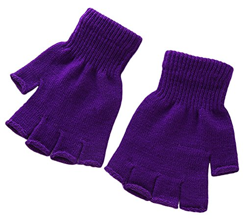 X&F Boys' and Girls' Solid Knitted Half Finger Mittens Typing Gloves, Small, Purple