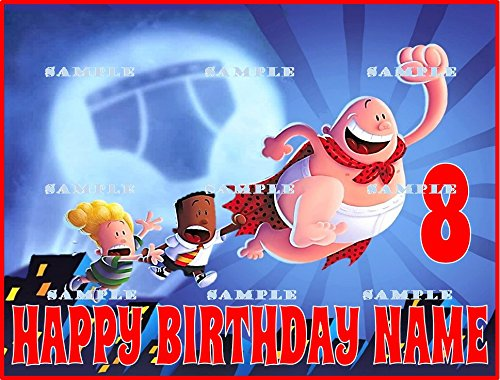 """CAPTAIN UNDERPANTS 7.5/""""  Round Edible Cake Topper Decoration 8 cupcake toppers"""