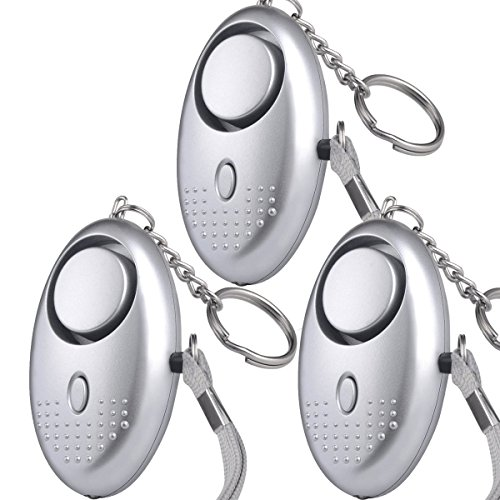 Personal Protection Security Alarm Self-Defense Keychains Wearable Mini Sound Devices with Emergency Flashlight Pocket Weapons & Safety Siren Gadget for Kids, Women, Students - Silver, 3pc