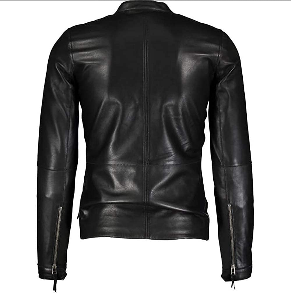 Men Black Fashion Zip Front Closure Star Trek Galaxy War Imitation Plain Slim Fit Black Leather Jacket