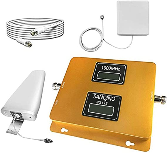 Boost Verizon AT/&T T-Mobile Sprint 2G 3G Voice Signal by 1900MHz Band 2 Cellular Repeater Amplifier Kit with High Gain Panel//Yagi Antennas Cell Phone Signal Booster for Home and Office