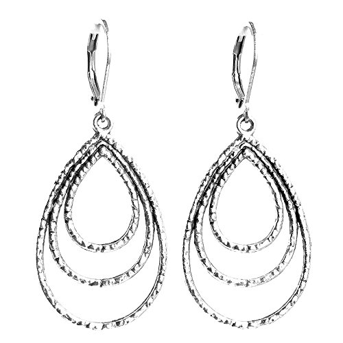 Hammered Style Earrings (Sabai NYC Silvertone Gypsy Style Hammered Triple Hoop Earrings)