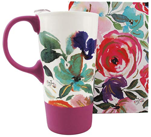 Purple Floral Spring Travel Coffee Mug with Gift Box Tea Cup Ceramic 17 oz.
