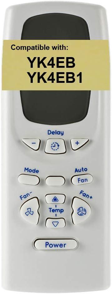 Replacement for GE Air Conditioner Remote Control YK4EB1 works for AEZ06LP AEZ06LPL1 AEZ06LPQ1 AEZ06LQ AEZ06LQQ1 AEZ06LQW1 AEZ08LP AEZ08LPH1 AEZ08LPQ1 AEZ08LQ AEZ08LQG1 AEZ08LQQ1 AEZ08LQQ2