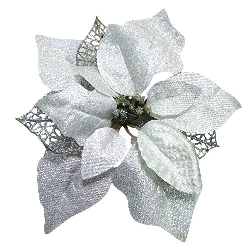 Poinsettia Silver - Crazy Night (Pack of 12 Glitter Poinsettia Christmas Tree Ornaments (Silver)