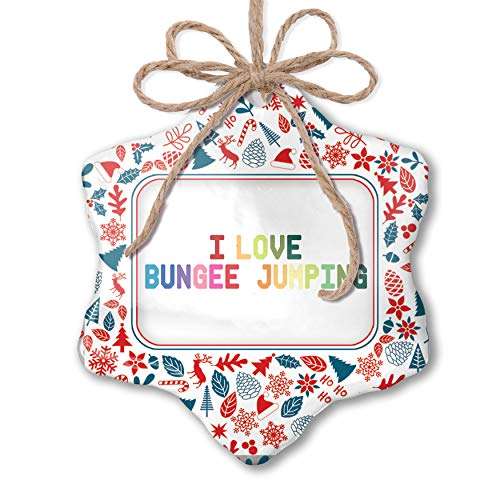 NEONBLOND Christmas Ornament I Love Bungee Jumping,Colorful Red White Blue Xmas