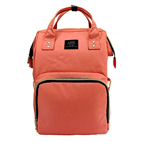 Land Baby Diaper Bag Large Capacity Mommy Backpack Baby Nappy Tote Bags Multi-function Travelling Backpack for Mom Travellers Nurses Students (Pink&Orange)