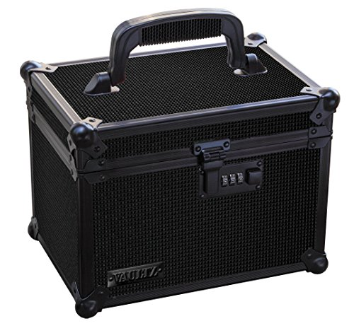 Aluminum Lock Tactical Case - Vaultz Locking Field Box with Tether, Tactical Black (VZ03490-1)