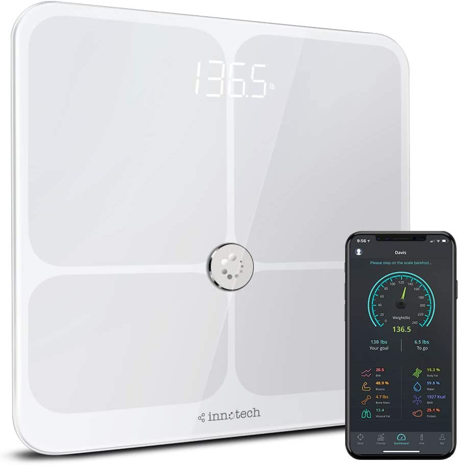 Innotech Smart Body Fat Scale Bluetooth Digital BMI Bathroom Weight Scales Body Composition Analyzer with Free APP Compatible with iOS, Android