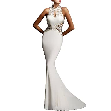 b9b6d5bbe6a YSTWLKJ Damen Maxi Etuikleid Spitze Cocktailkleid Abendkleid Meerjungfrau  Paket-Hüfte-Kleid Hockzeitkleid