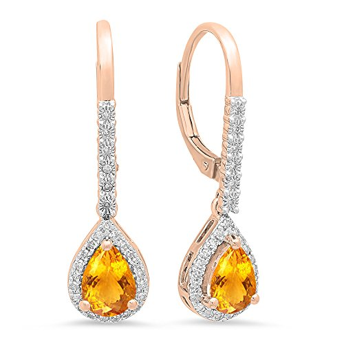Dazzlingrock Collection 10K 7X5 MM Each Pear Citrine & Round White Diamond Ladies Dangling Drop Earrings, Rose -