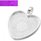AKOAK 24 Pieces 25mm 1 Inch Diameter Shimmering Silver Heart Shape Pendant Trays Pendant Blanks Cameo Bezel Cabochon Settings for Photo Charm or Cabochon