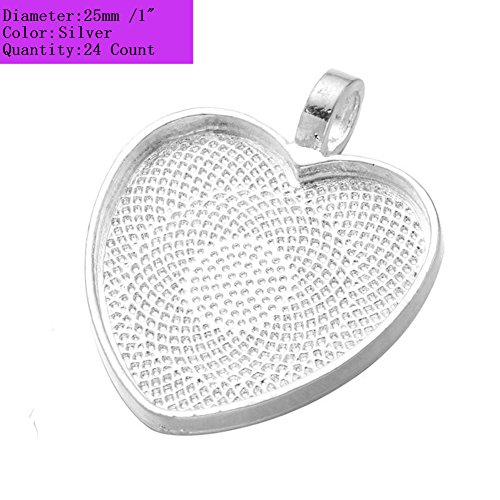(AKOAK 24 Pieces 25mm 1 Inch Diameter Shimmering Silver Heart Shape Pendant Trays Pendant Blanks Cameo Bezel Cabochon Settings for Photo Charm or Cabochon)