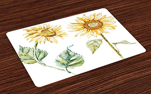 Ambesonne Watercolor Place Mats Set of 4, Alluring Sunflower