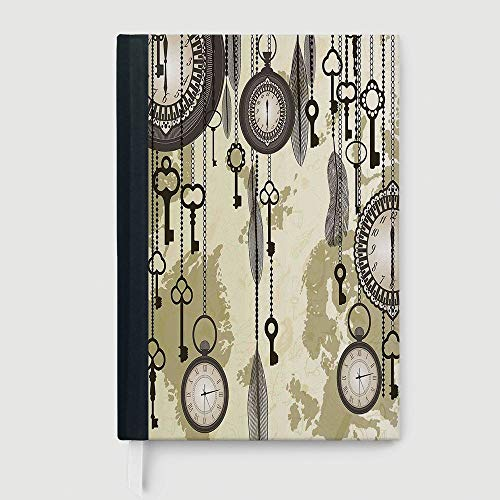 Casebound Hardcover Notebooks,Antique Decor,Composition Book/Notebook,Old Days Design with 20s Cultural Items and Tribal Feathers Changing Trends Print,96 Ruled Sheets,B5/7.99x10.02 in