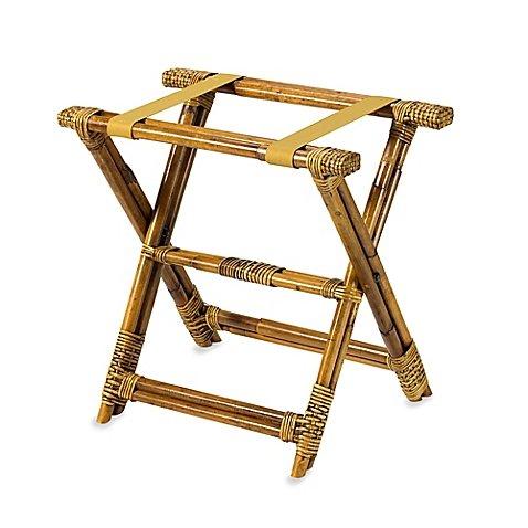Bamboo Rattan Luggage Rack -