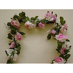 Roses Garland Artificial Silk Flowers 5.5 ft Vine 335 Cream Pink 49